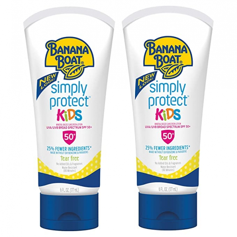 ihocon: Banana Boat Kids Simply Protect Tear Free, Reef Friendly Sunscreen Lotion, SPF 50, 6 Ounces - Twin Pack 兒童防曬乳