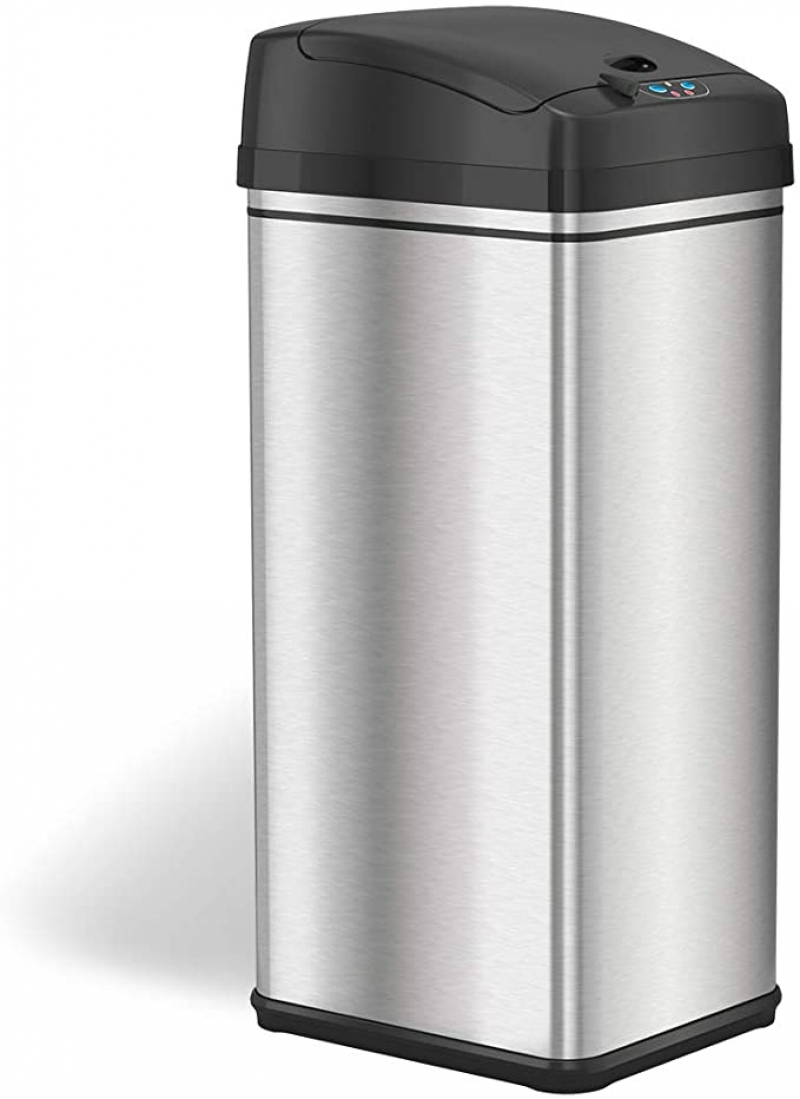 ihocon: iTouchless 13 Gallon Stainless Steel Automatic Trash Can 不銹鋼自動感應免接觸垃圾桶