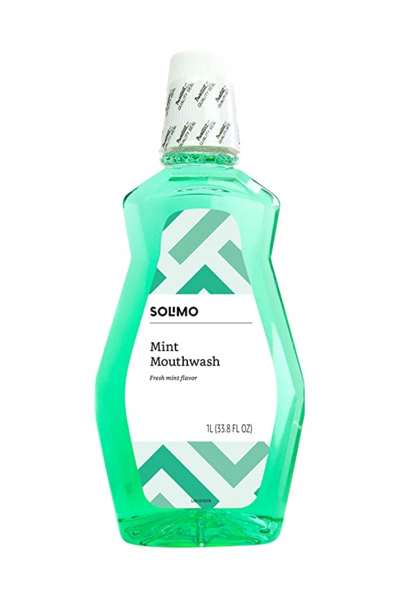 ihocon: [Amazon自家品牌] Solimo Mint Mouthwash, 1 Liter, 33.8 Fluid Ounces 漱口水