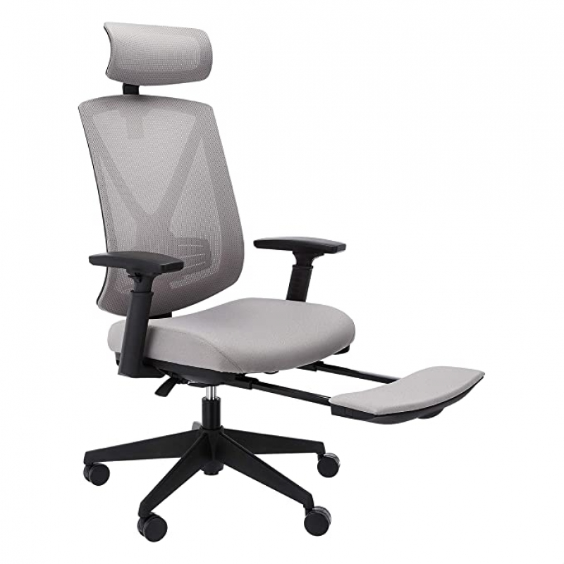 ihocon: Amazon Basics Ergonomic High-Back Reclining Mesh Office Chair - Bonded Leather Seating with Adjustable Lumbar Support 人體工學高背可躺式電腦椅/辦公椅