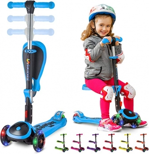 ihocon: [可坐, 可站] S SKIDEE Scooter for Kids with Folding/Removable Seat 兒童三輪滑板車