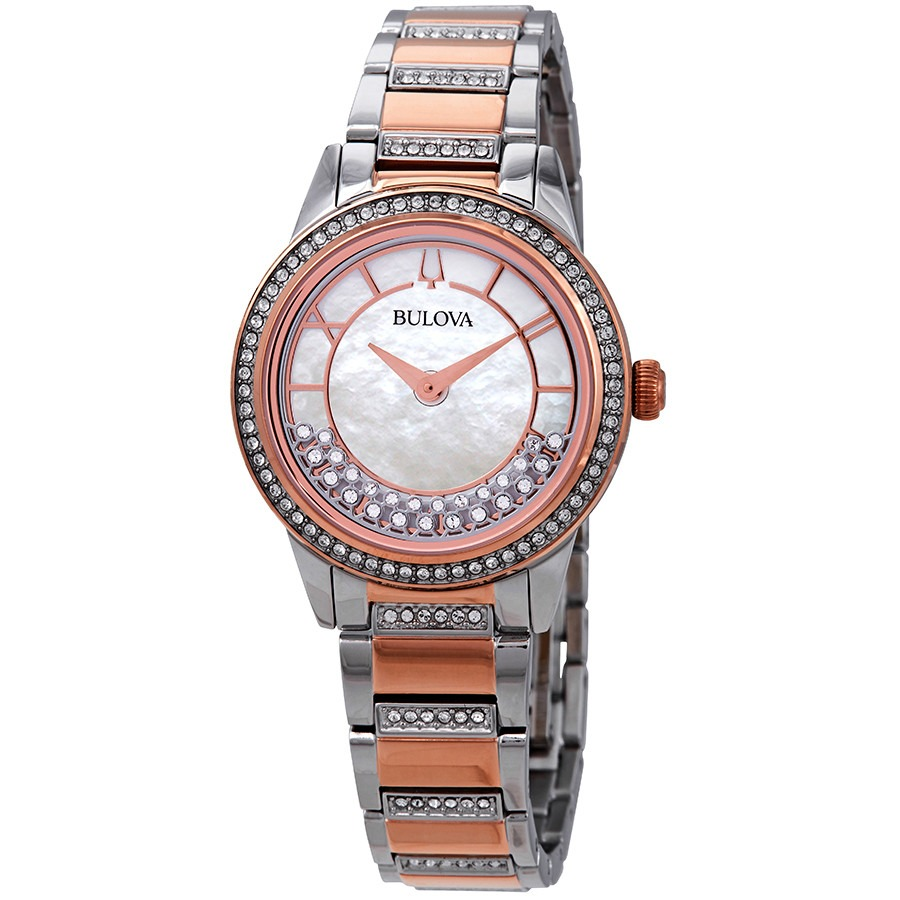 ihocon: Bulova Crystal Turnstyle Mother of Pearl Dial Two-Tone Ladies Watch 寶路華水晶女錶