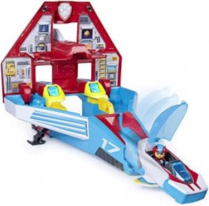 ihocon: Paw Patrol, Super Paws, 2-in-1 Transforming Mighty Pups Jet Command Center with Lights and Sounds
