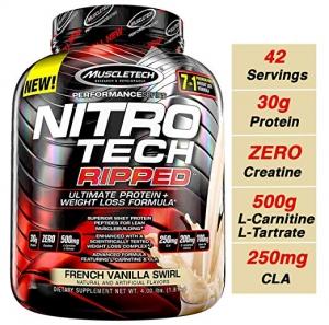 ihocon: MuscleTech Nitro Tech Whey Protein Isolate Powder 4 Pounds (French Vanilla Swirl) 蛋白粉