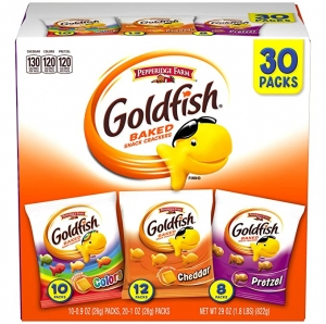 ihocon: Pepperidge Farm Goldfish Classic Mix Crackers, 30 Count Snack Packs 小魚餅乾