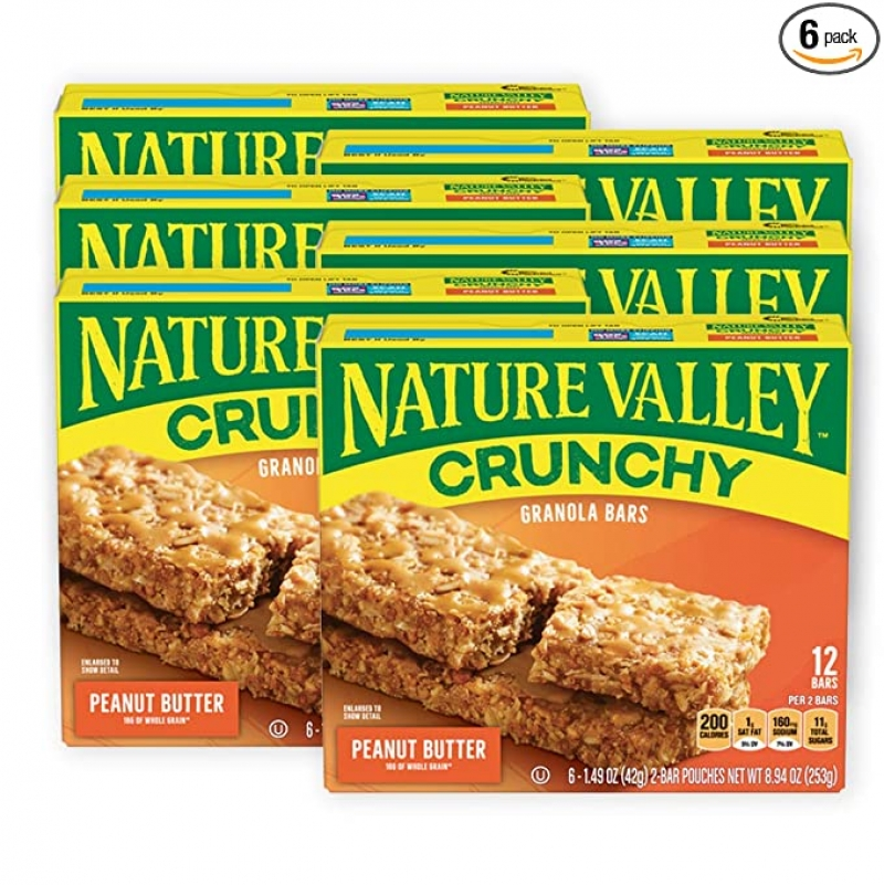 ihocon: Nature Valley Granola Bars, Crunchy, Peanut Butter, 6 Pouches (Pack of 6)