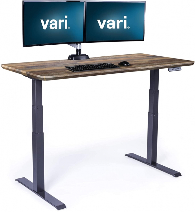 ihocon: Vari Electric Standing Desk, 60W, Reclaimed Wood Item # 5675834  電動升降站立式辦公桌