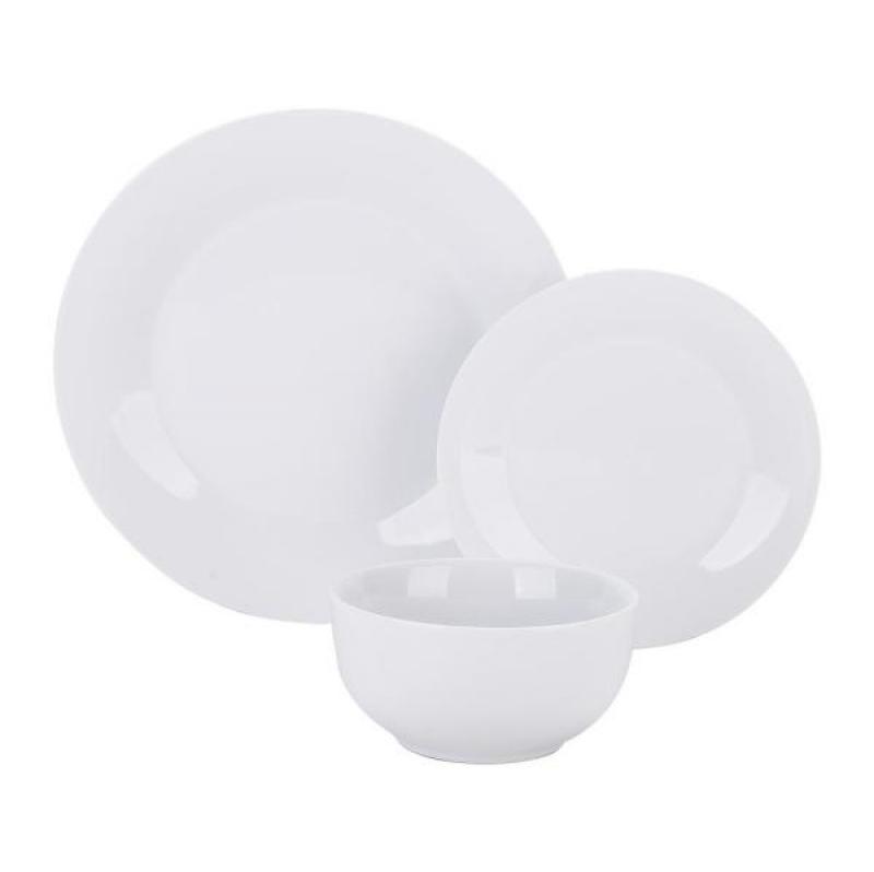 ihocon: Boyel Living 18- Piece Modern White Porcelain Dinnerware Sets (Service for Set for 6)  餐具