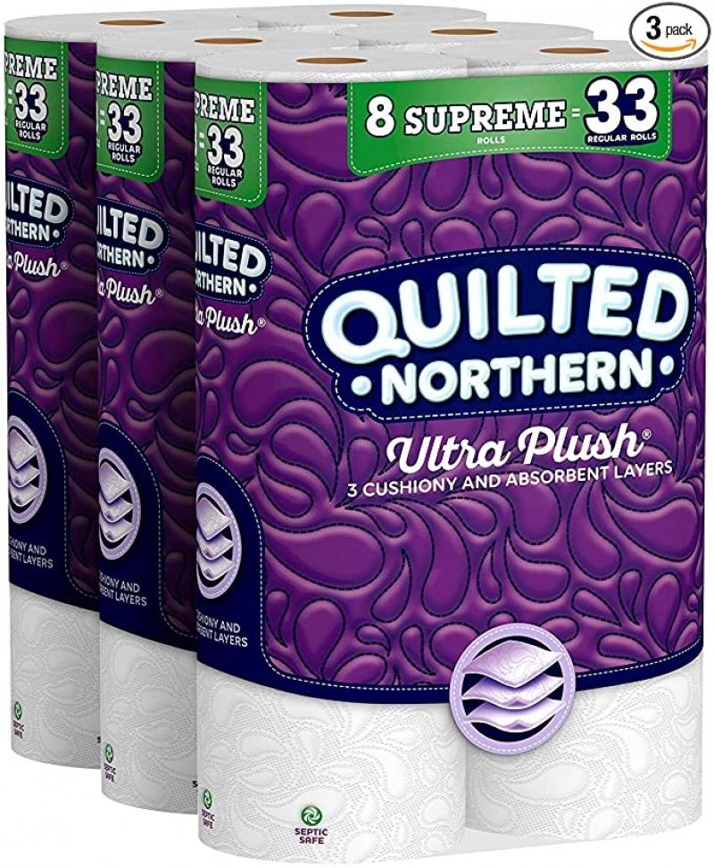 ihocon: [24捲等於99捲的份量Quilted Northern Ultra Plush Toilet Paper, 24 Supreme Rolls廁所衛生紙 24捲