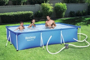 ihocon: Bestway Steel Pro 9.8ft x 5.6ft x 26in Above Ground Swimming Pool Set with Pump 游泳池含幫浦