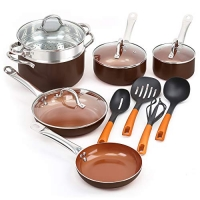 ihocon: SHINEURI 14 Pieces Nonstick Ceramic Copper Cookware Set 不粘鍋組