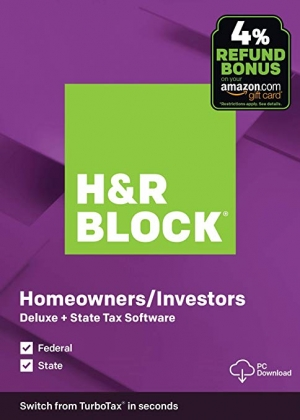 ihocon: [報稅軟體] H&R Block Tax Software Deluxe + State 2019 with 4% Refund Bonus Offer [PC Download]