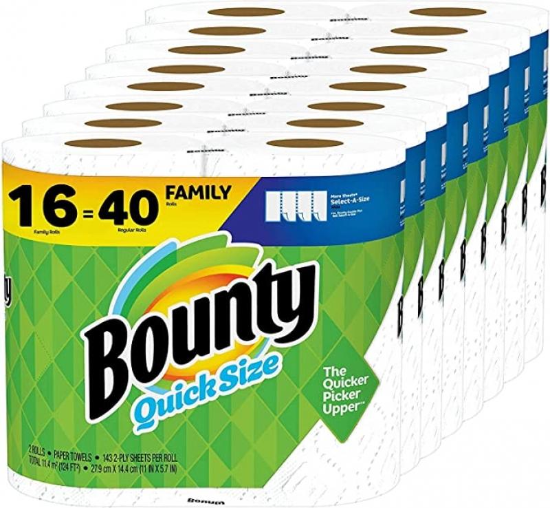 [16捲等於40捲的份量] Bounty Quick-Size 廚房紙巾 16捲 Family Rolls $38.77免運