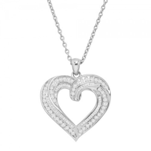 ihocon: 1 ct Diamond Twist Heart Necklace in Sterling Silver, 18 純銀1克拉(總重)鑽石項鍊