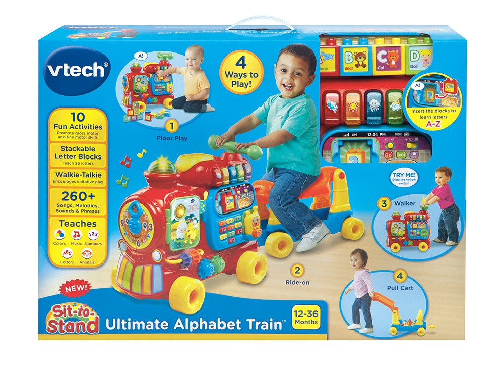 ihocon: VTech, Sit-to-Stand Ultimate Alphabet Train, Ride-On Train Toy
