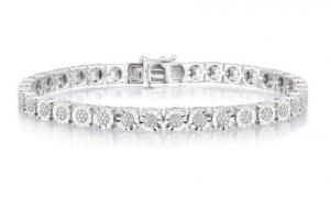 ihocon: 1/4 CTTW Diamond Tennis Bracelet in Sterling Silver by Brilliant Diamond 純銀鑽石手鍊