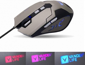 ihocon: VANDER LIFE Gaming Mouse, USB Cable Gaming Mouse, 4-Color LED Breathing Light, Adjustable 4-Position DPI  遊戲滑鼠