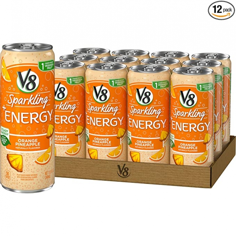 ihocon: V8 Sparkling +Energy, Healthy Energy Drink, Natural Energy from Tea, Orange Pineapple, 11.5oz Ounce Can (Pack of 12) 氣泡能量飲料