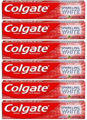 ihocon: Colgate Sparkling White Whitening Toothpaste, Cinnamon - 6 ounce (6 Pack) 高露潔美白牙膏