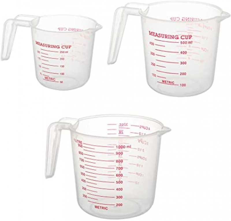 ihocon: LEETQ Nesting Stackable Plastic Measuring Cups 3 Piece Set (1 Cup,2 Cup and 4 Cup) 塑膠量杯