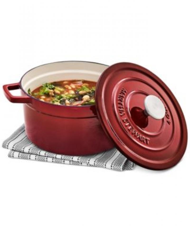 ihocon: Martha Stewart Collection 4-Qt. Enameled Cast Iron Round Dutch Oven 琺瑯鑄鐵鍋