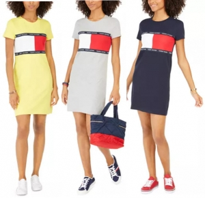 ihocon: Tommy Hilfiger Signature-Graphic T-Shirt Dress女士洋裝-3色可選