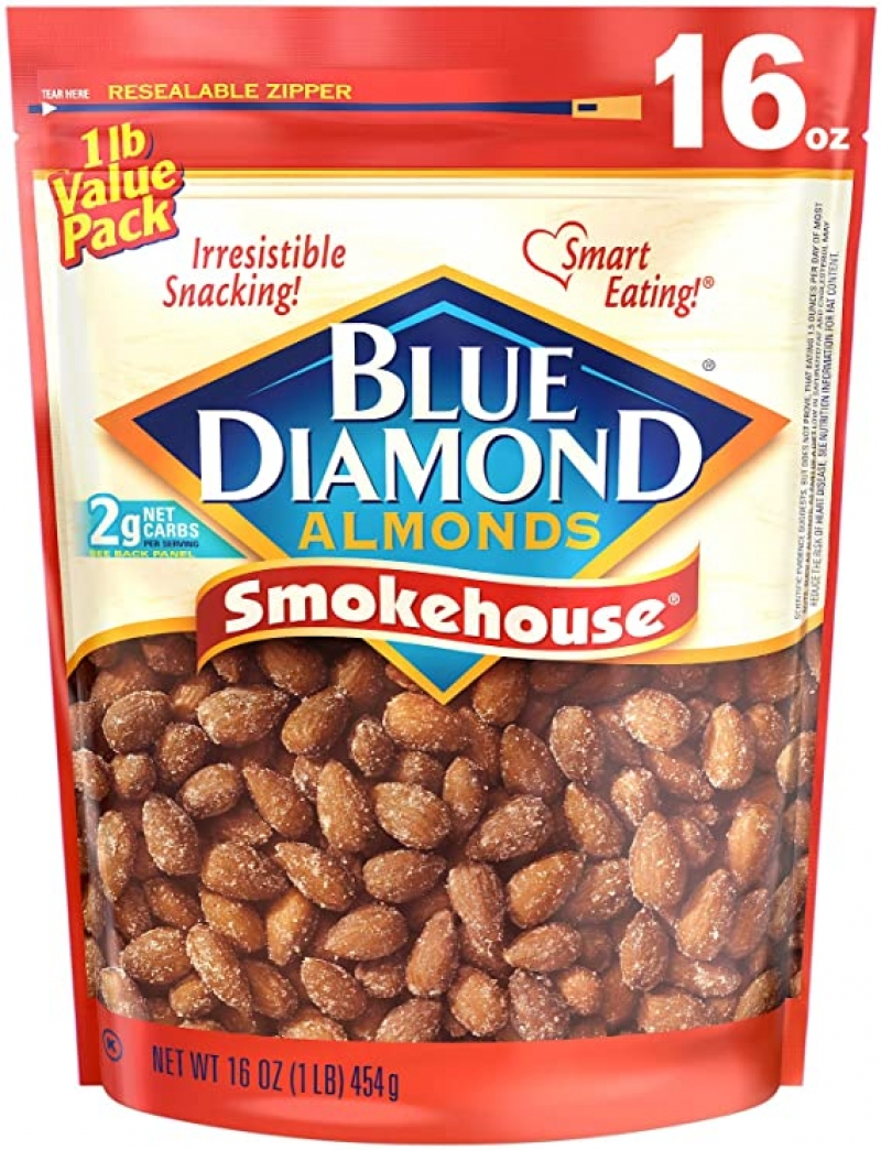 ihocon: Blue Diamond Gluten Free Almonds, Smokehouse, 16 Ounce 煙熏口味杏仁