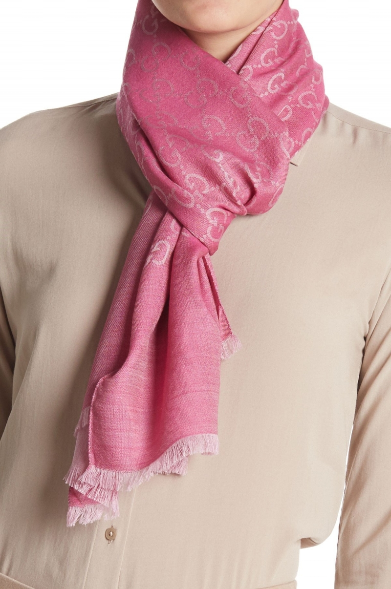 ihocon: GUCCI GG Monogrammed Wool & Silk Blend Scarf 羊毛真絲混紡圍巾
