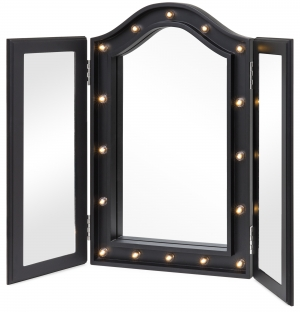 ihocon: Best Choice Products Lighted Tabletop Tri-Fold Vanity Mirror w/ LED Lights - Black 桌面三折式帶LED燈梳妝鏡