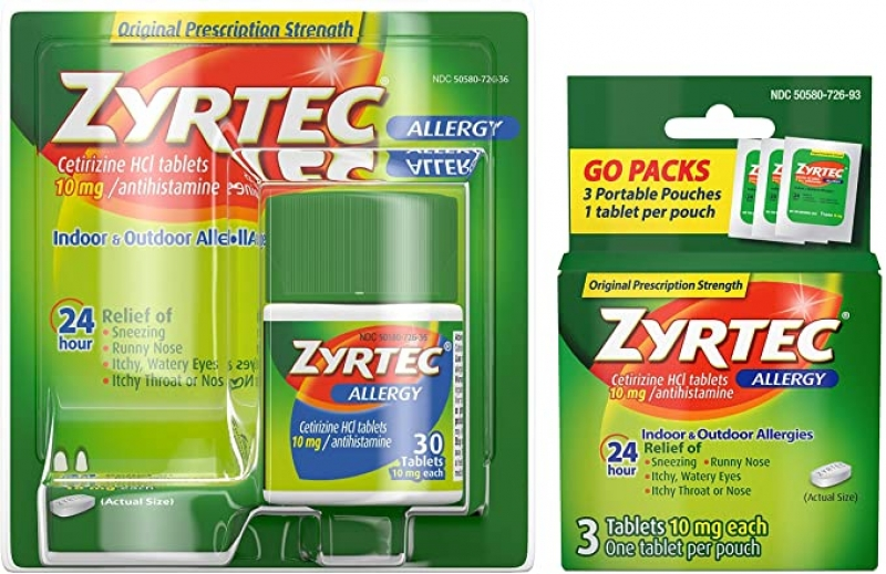ihocon: Zyrtec 24 Hour Allergy Relief Tablets, Bundle with 1 x 30 ct and 1 x 3 ct Travel Pack  24小時過敏藥
