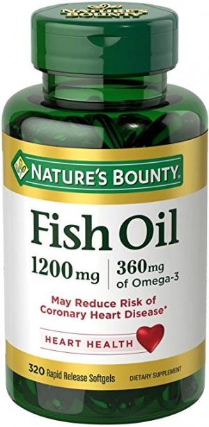 ihocon: Nature's Bounty Omega-3 Fish Oil, Heart Health, 1200 mg, 320 Rapid Release Softgels 魚油