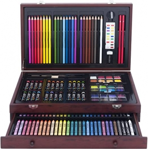 ihocon: Art 101 142-Piece Wood Art Set Amazon Exclusive 木盒裝繪圖文具