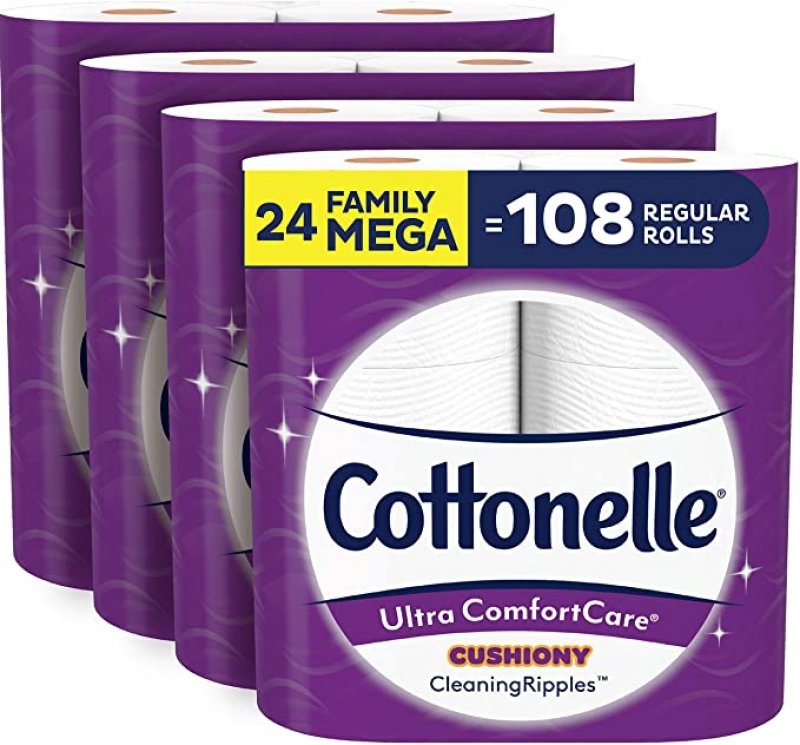 ihocon: Cottonelle Ultra ComfortCare Soft Toilet Paper with Cushiony Cleaning Ripples, 24 Family Mega Rolls (24 Family Mega Rolls = 108 Regular Rolls) 廁所衛生紙