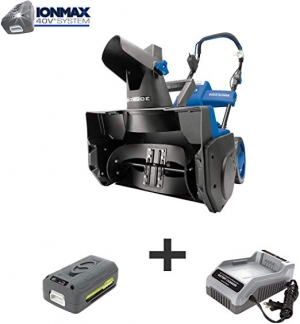 ihocon: Snow Joe iON18SB 18-Inch 40 Volt Cordless Brushless Single Stage Snow Blower, Kit (w/4.0-Ah Battery + Quick Charger) 無線鏟雪機, 含電池及充電器