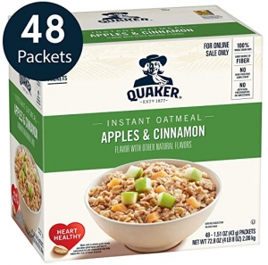 ihocon: Quaker Instant Oatmeal, Apples & Cinnamon, Individual Packets, 48 Count 桂格即食燕麥片