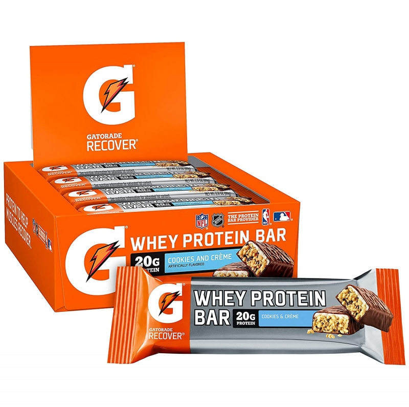 ihocon: Gatorade Whey Protein Bars, Cookies & Crème, 2.8 oz bars (Pack of 12, 20g of protein per bar) 蛋白質點心棒