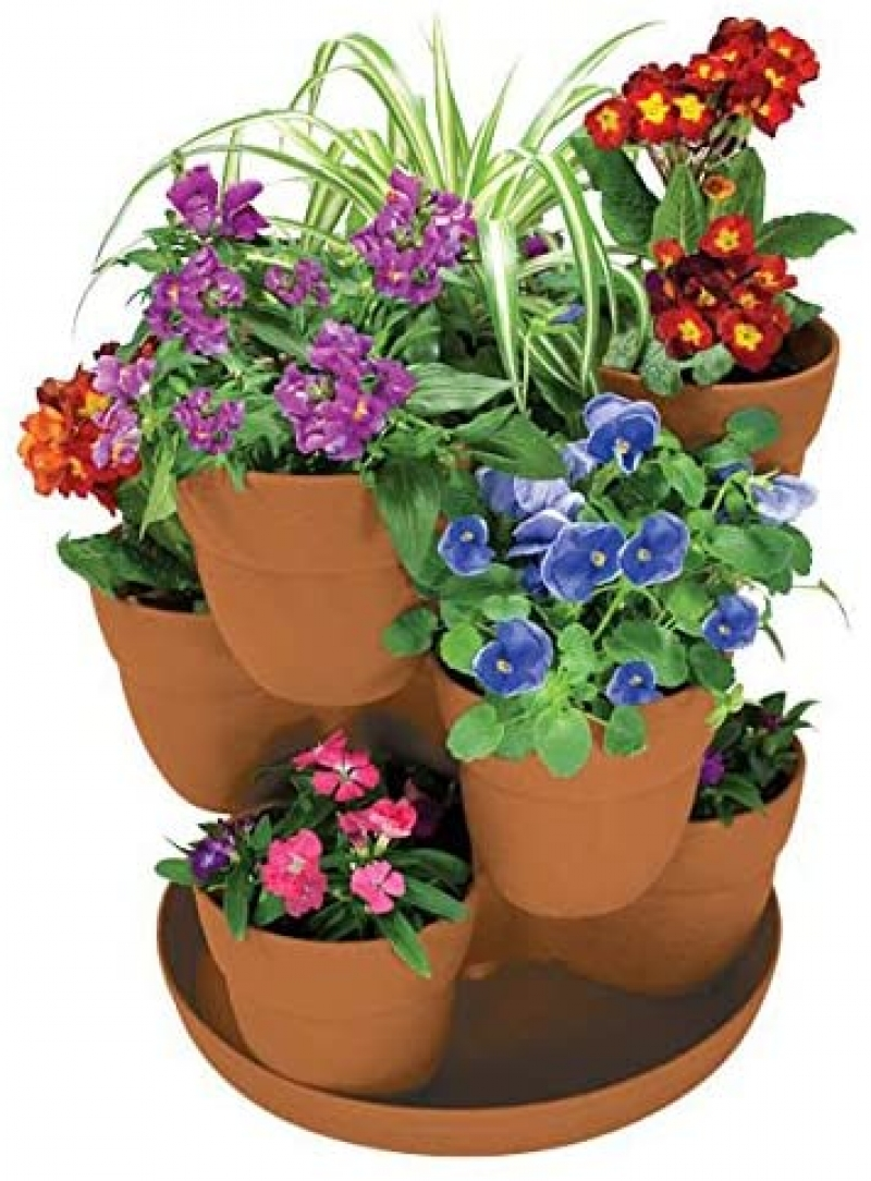 ihocon: EMSCO Bloomers Stackable Flower Tower Planter 三層疊疊盆