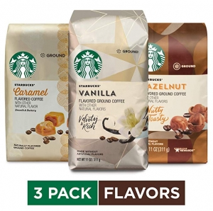 ihocon: Starbucks Flavored Ground Coffee Variety Pack, 11 Ounce (Pack of 3) 星巴克研磨咖啡