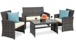 ihocon: BCP 4-Piece Outdoor Wicker Sofa Furniture Set庭園藤沙發組-3色可選