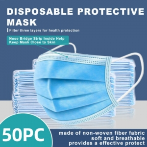 ihocon: [50 PCS] Face Mask Disposable Non Medical Surgical 3-Ply 三層一次性口罩