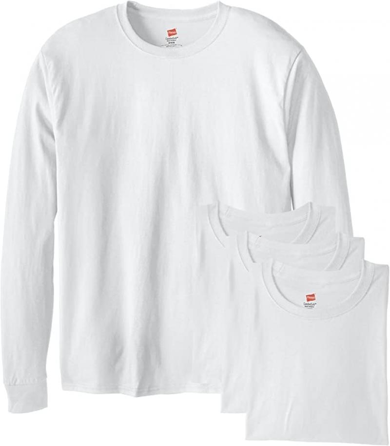 ihocon: Hanes 100% Cotton Men's Long-Sleeve ComfortSoft T-Shirt (Pack of 4) 男士純棉長袖衫
