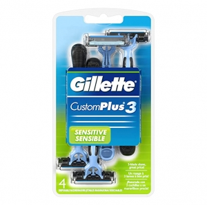 ihocon: Gillette CustomPlus 3 Disposable Razor, Sensitive, 4 Count 男士刮鬍刀