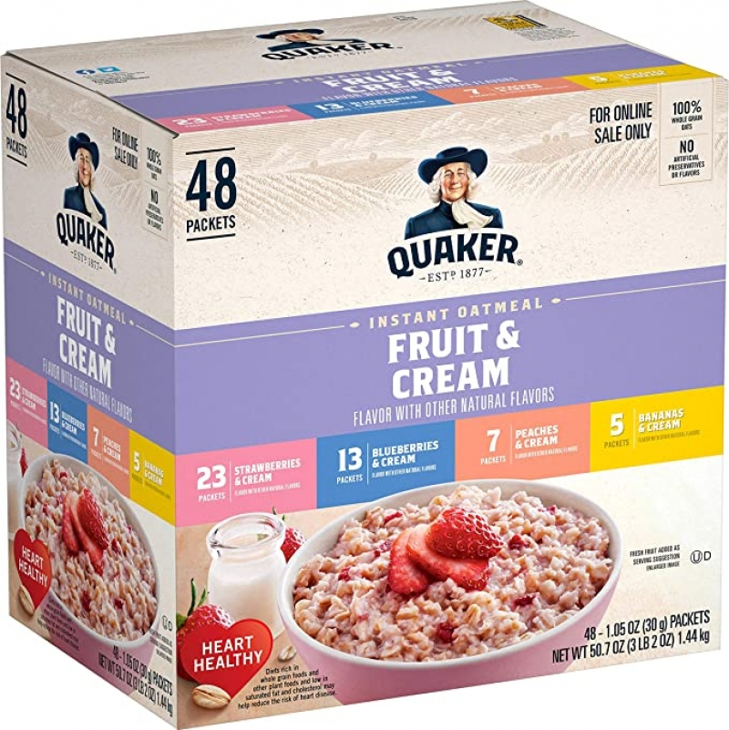 ihocon: Quaker Instant Oatmeal, Fruit and Cream 4 Flavor Variety Pack, Individual Packets, 48 Count 桂格快速燕麥片, 四種口味