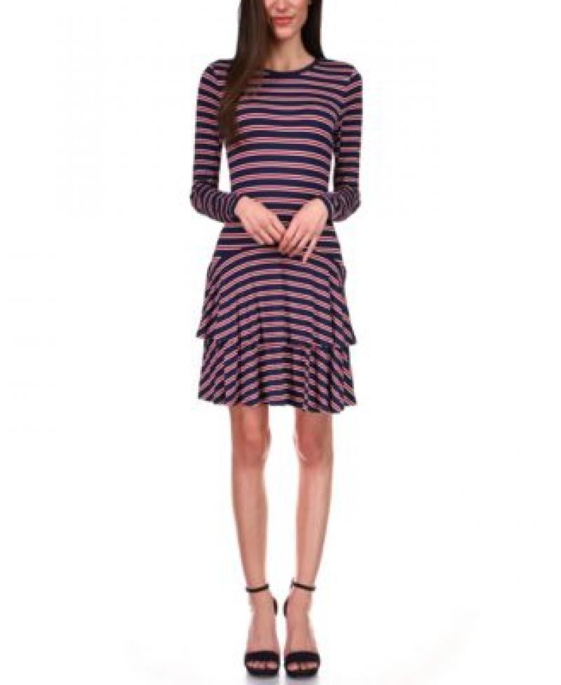 ihocon: MICHAEL Michael Kors Striped Tiered-Skirt Dress女士洋裝