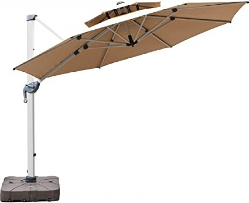 ihocon: LKINBO 11 FT Cantilever Patio Umbrella, 360 Degree Rotation 懸臂式遮陽傘