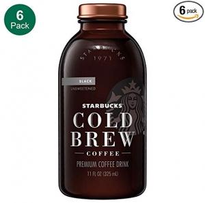 ihocon: Starbucks星巴克 Cold Brew Coffee, Black Unsweetened, 11 oz Glass Bottles, 6 Count 冷泡無糖黑咖啡