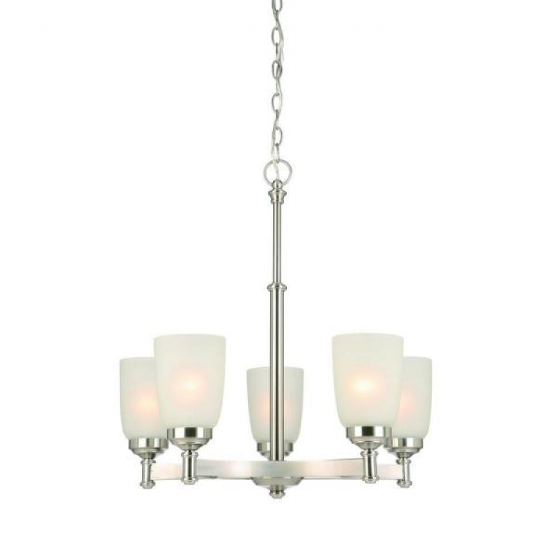 ihocon: Hampton Bay 5-Light Brushed Nickel Chandelier with Frosted Glass Shades 玻璃燈罩吊燈