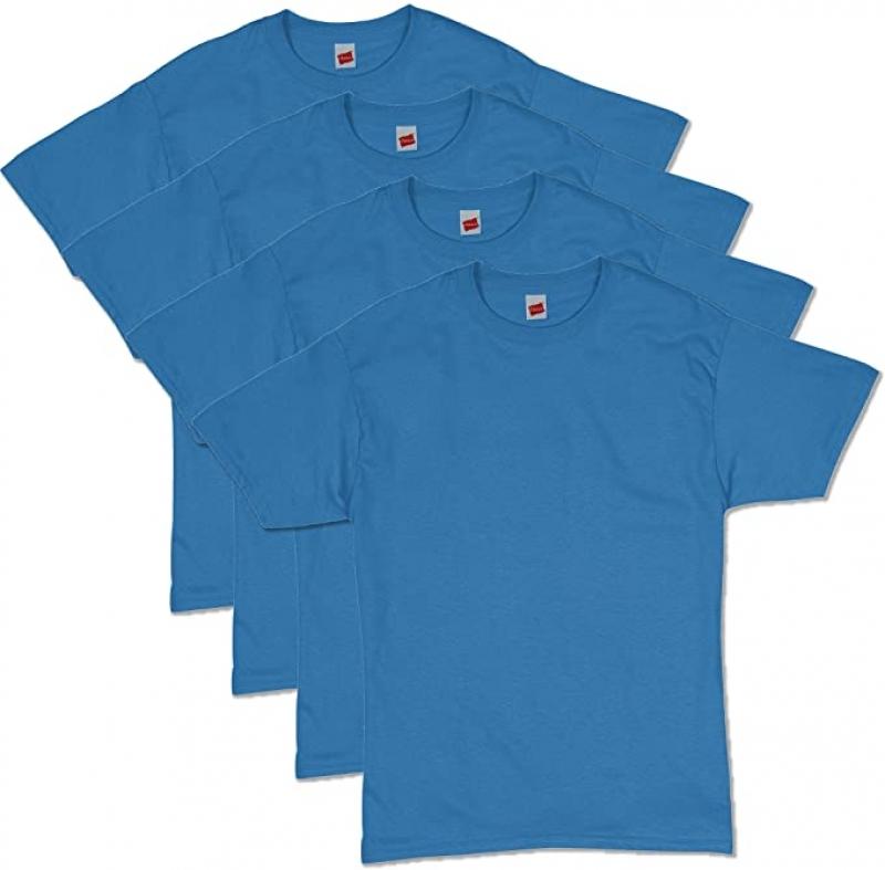 ihocon: Hanes Men's ComfortSoft Short Sleeve T-Shirt 100% Cotton(4 Pack ) 男士純棉短袖衫