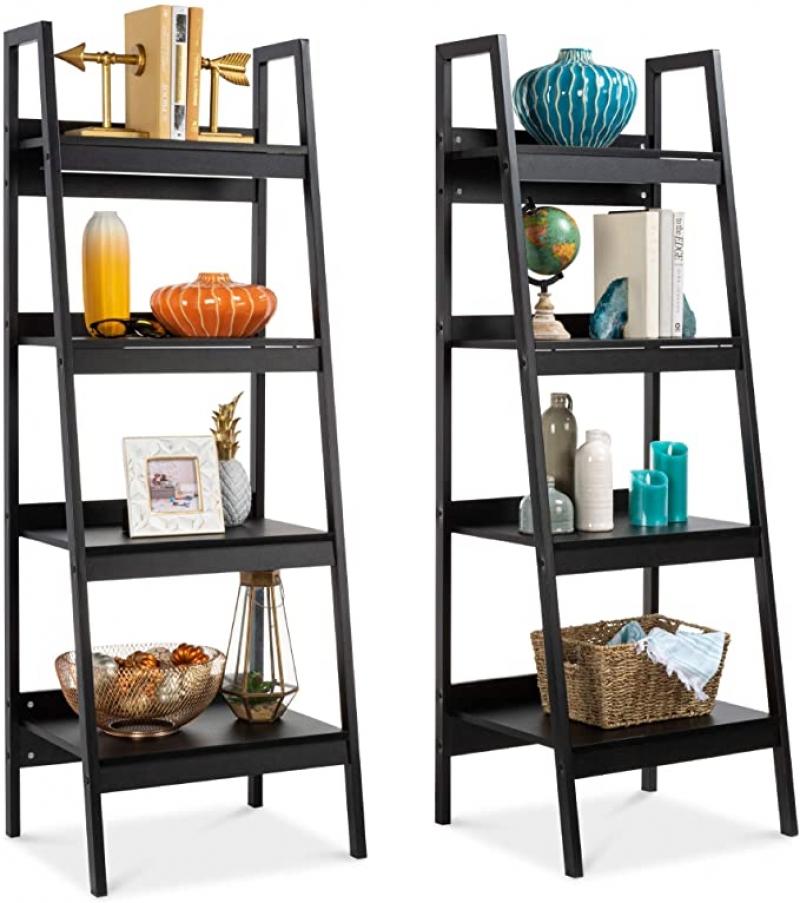 ihocon: Best Choice Products Set of 2 Multipurpose Wooden 4-Shelf Open Ladder Bookcase Storage Display Organizers 木製四層展示架