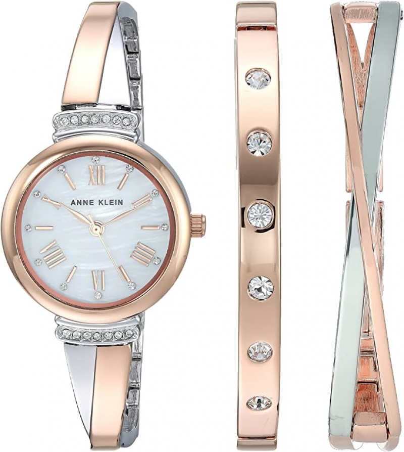 ihocon: Anne Klein Women's AK/2245RTST Swarovski Crystal Accented Rose Gold-Tone and Silver-Tone Bangle Watch and Bracelet Set施華洛世奇水晶女錶+手鍊套裝